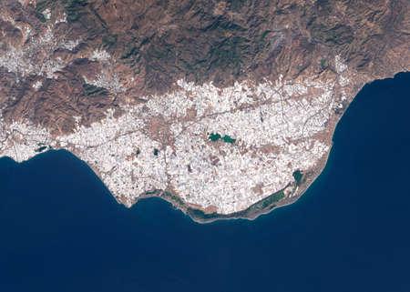 Satellite image of intensive farming with plastic greenhouses near Almeria, Spain.