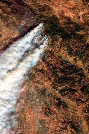 Satellite image of wildfires in California .