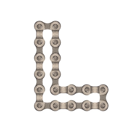 The letters are made of chain gear  photo