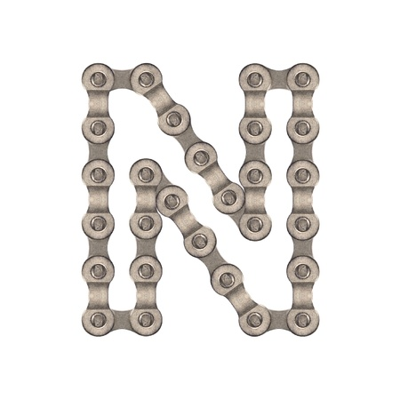 bicycle gear: Chain alphabet Stock Photo