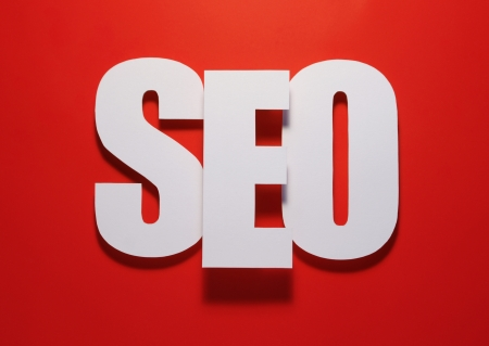 website words: seo on red Stock Photo