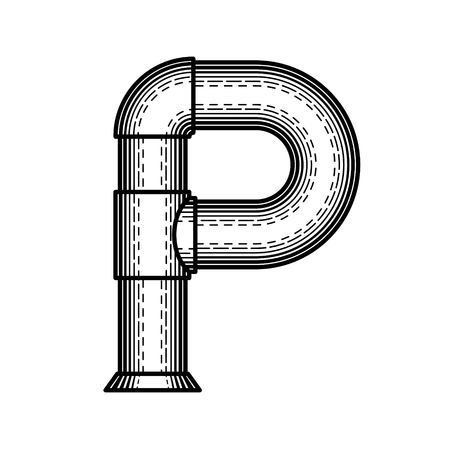 Pipe font made ??in the style of engraving. photo
