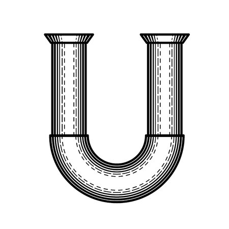 sewer pipe: Pipe letter U made ??in the style of engraving. Stock Photo