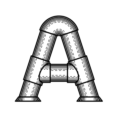 pipe line: Pipe letter A made ?? style of engraving.
