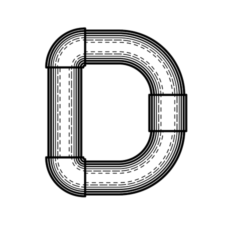 Pipe letter D made ??in the style of engraving.