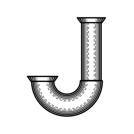 Pipe letter J made ??in style of engraving.