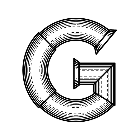 Pipe letter G made in style of engraving  photo