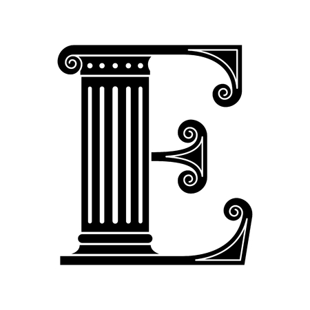 Alphabet E made in the classic old style. photo
