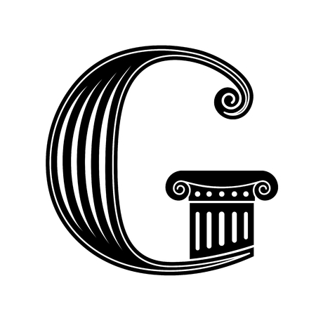 greek column: Font made in the classic old style. Stock Photo