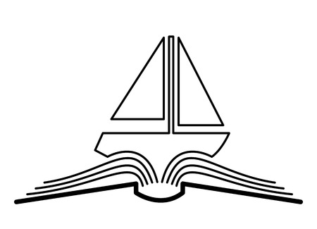 book concept: The concept of the book pages and sailboat.