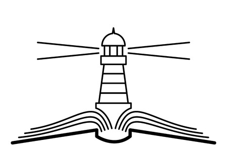 lighthouse beam: The concept of the book and lighthouse.