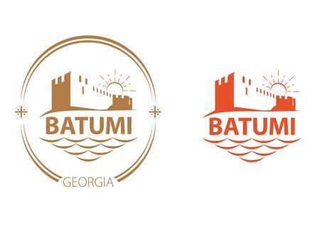 Batumi city resort. Vector illustration of an ancient roman fortress in Georgia.