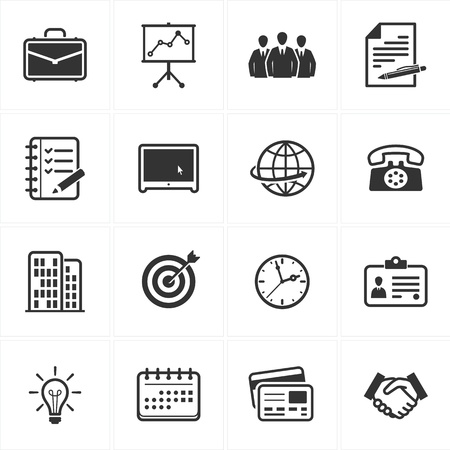 list: Set of 16 business icons great for presentations, web design, web apps, mobile applications or any type of design projects