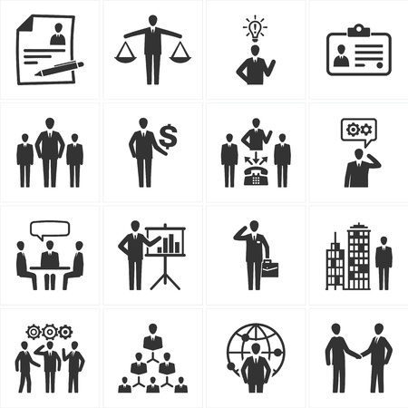 human resources strategy: Set of 16 management and human resource icons great for presentations, web design, web apps, mobile applications or any type of design projects
