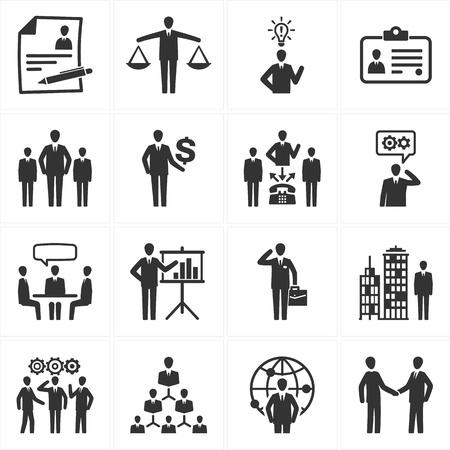 Set van 16 management en human resource pictogrammen ideaal voor presentaties, web design, web apps, mobiele toepassingen of een soort van ontwerpprojecten