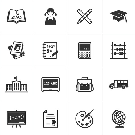 autobus escolar: Conjunto de 16 iconos de la escuela y la educaci�n de grandes presentaciones, dise�o web, aplicaciones web, aplicaciones m�viles o cualquier tipo de proyectos de dise�o
