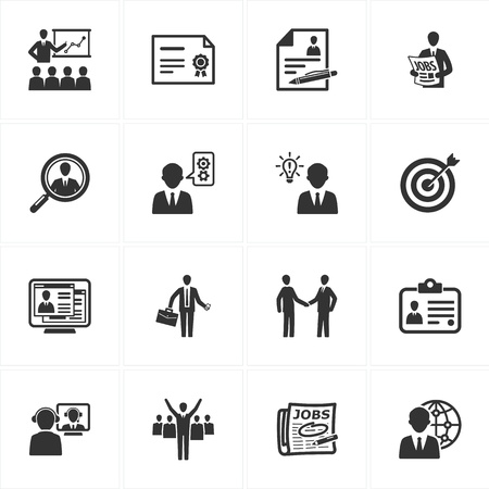 job search: Set of 16 employment and business icons great for presentations, web design, web apps, mobile applications or any type of design projects