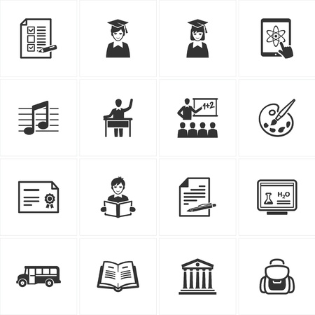 Set van 16 school en onderwijs iconen zeer geschikt voor presentaties, web design, web applicaties, mobiele toepassingen of type design projecten Stock Illustratie