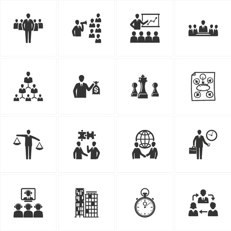 Set van 16 management en business iconen zeer geschikt voor presentaties, web design, web applicaties, mobiele toepassingen of type design projecten Stock Illustratie