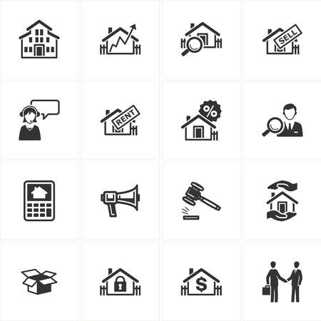real estate agent: Set of 16 real estate icons great for presentations, web design, web apps, mobile applications or any type of design projects