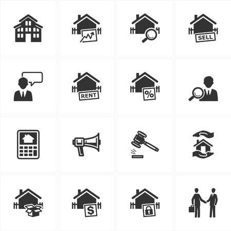 courtier: Ensemble de 16 ic�nes de l'immobilier id�al pour les pr�sentations, web design, web apps, les applications mobiles ou tout type de projets de conception Illustration