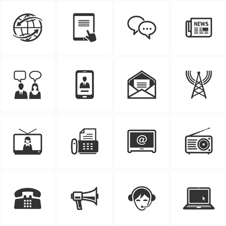 素晴らしいプレゼンテーション、web デザイン、web アプリケーション、モバイル アプリケーションやあらゆる種類のデザイン プロジェクトのための 16 の通信アイコンのセット 写真素材 - 14221571