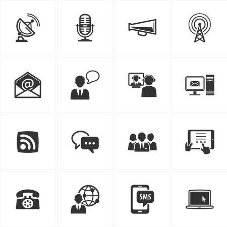 communications tower: Set of 16 communication icons great for presentations, web design, web apps, mobile applications or any type of design projects