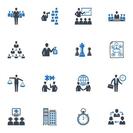 管理およびビジネスのアイコン - ブルー シリーズ