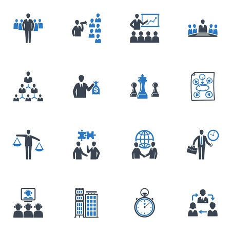Management and Business Icons - Blue Series Vektorové ilustrace