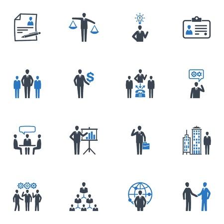 gestion empresarial: Gestión de Recursos Humanos e iconos - Serie Azul