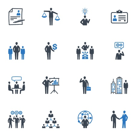 corporate hierarchy: Gestione e Risorse Umane Icone - Serie Blu