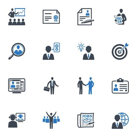 雇用とビジネスのアイコン - ブルー シリーズ  イラスト・ベクター素材