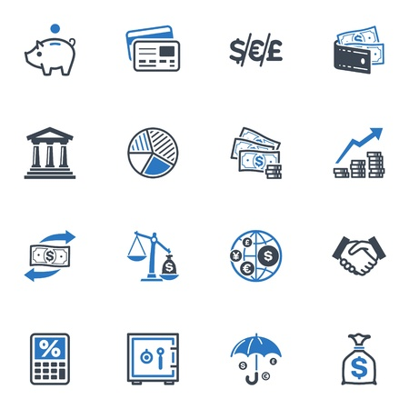 currency converter: Finance Icons - Blue Series Illustration