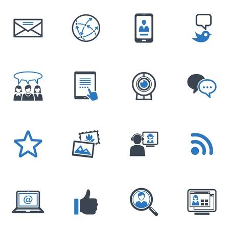 ソーシャル メディアのアイコン セット 1 - ブルー シリーズ  イラスト・ベクター素材