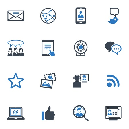 Social Media Icons Set 1 - Blauwe Reeks