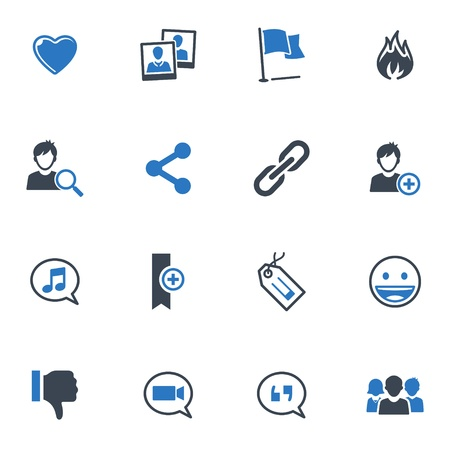 socializing: Social Media Icons Set 2 - Blue Series