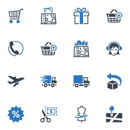 상업: 쇼핑 및 전자 상거래 아이콘 설정 1 - 블루 시리즈