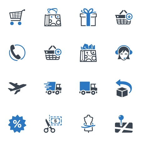 shopping cart online shop: Shopping and E-commerce Icons Set 1 - Blue Series