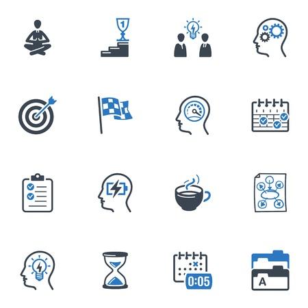 Productiva en los iconos de trabajo - Serie Azul