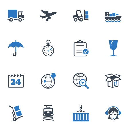 overnight delivery: Logistics Icons - Blue Series