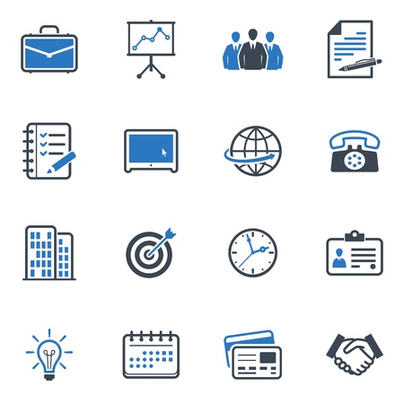 Business and Office Icons - Blue Series Illustration