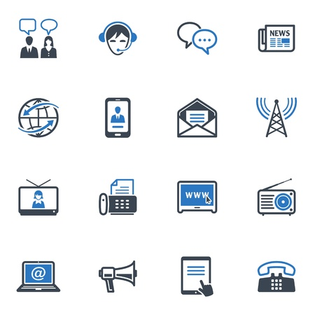 Communicatie Icons Set 2 - Blauwe Reeks Stock Illustratie