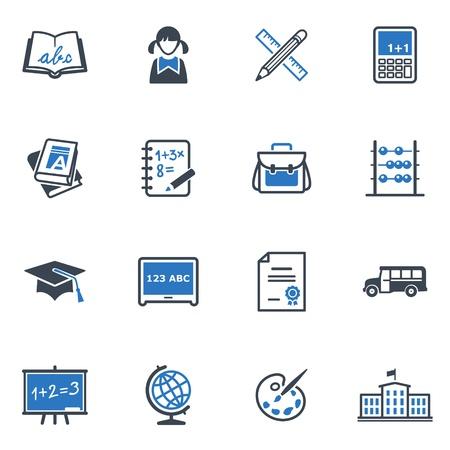 iconos educacion: Iconos de la escuela y la educaci�n Set 1 - Serie Azul Vectores