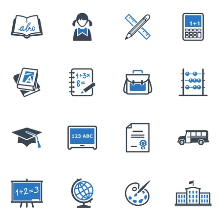 School and Education Icons Set 1 - Blue Series Stock Vector - 18025144
