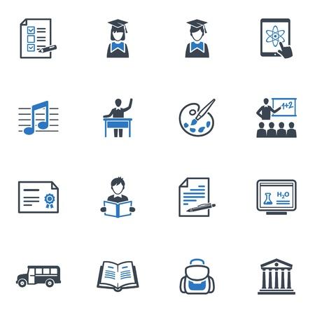 Iconos de la escuela y la educaci�n Set 2 - Serie Azul