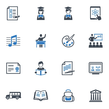 paper hats: School and Education Icons Set 2 - Blue Series
