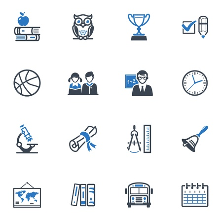School and Education Icons Set 3 - Blue Series Illustration