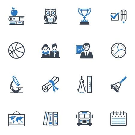 School en onderwijs Icons Set 3 - Blauwe Reeks Stock Illustratie