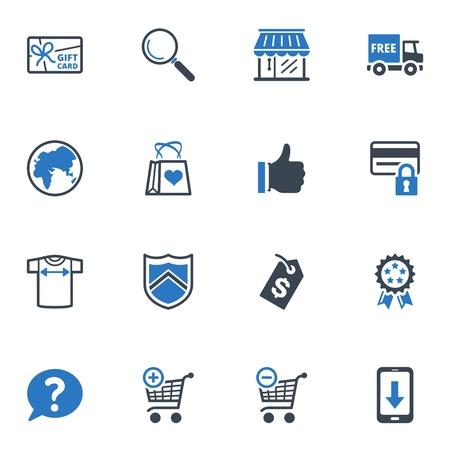 ショッピング、E コマースのアイコン セット ブルー シリーズ 2