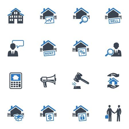 Iconos de Real Estate - Serie Azul Vectores